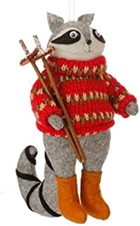 7 Country Cabin Stuffed Animal Raccon with Red Sweater and Ski Poles Christmas Figure Ornament