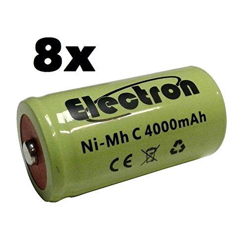 8x Batteria ricaricabile Ni-Mh NiMh C 1/2 mezza torcia 1,2V 4000mAh accumulatore 50x26mm pin