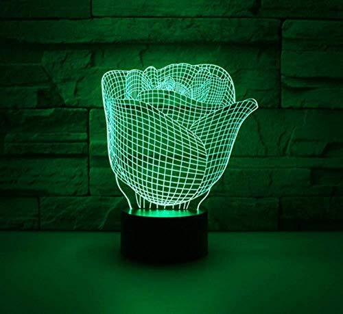 Luz de noche de 3D para niños lámpara de proyección lámpara Flores hola decoración de dormitorio regalo lámpara de noche creativa regalo Con interfaz USB, cambio de color colorido