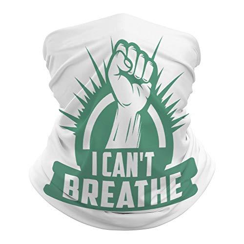I Can't Breathe Foulard polyvalent pour le visage, la bouche, la bouche, le poing, bandeau magique hippie cravate cache-cou pour extérieur résistant à la poussière 50 x 25 cm