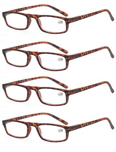 4 Pack Lesebrille 1.0 Herren/Damen,Gute Brillen,Hochwertig,Komfortabel,Rechteckig,Super Lesehilfe,fur Manner und Frauen