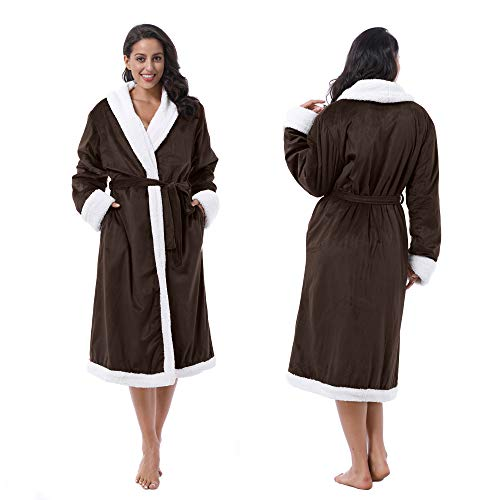 Tirrinia Women's Super Soft Warm Sherpa Bathrobe Micro Fleece Kimono Collar Plush Thick Spa Robe Sleepwear with 2 Side Pockets Gray