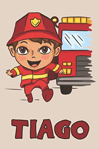 Tiago: Firefighter Fireman Fire Department Boys Name Tiago, Lined Journal Composition Notebook, 100 Pages, 6x9, Soft Cover, Matte Finish, Back To School, Preschool, Kindergarten, Kids