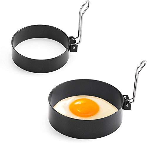2 Molde para Huevos De Acero Inoxidable Molde Redondo Para Tortitas Fritas Herramienta De Seguridad De Grado Alimenticio