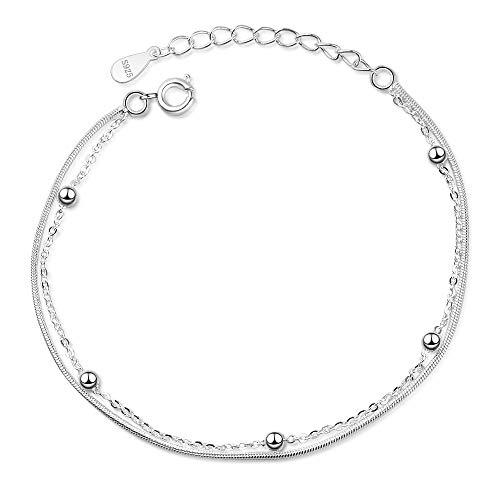 Pulsera minimalista de doble capa de plata de ley 925 con cadena para mujer