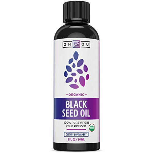 Zhou Organic Black Seed Oil | 100% Virgin | Cold Pressed Omega 3 6 9 | Super antioxidant for Immune Support, Joints, Digestion, Hair & Skin | 8oz