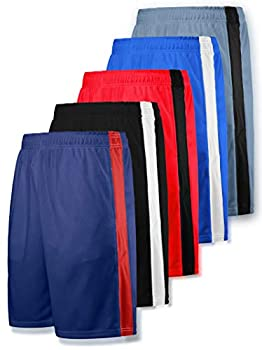 Liberty Imports Pack of 5 Men s Athletic Basketball Shorts Mesh Quick Dry Activewear with Pocket  Medium Edition 1