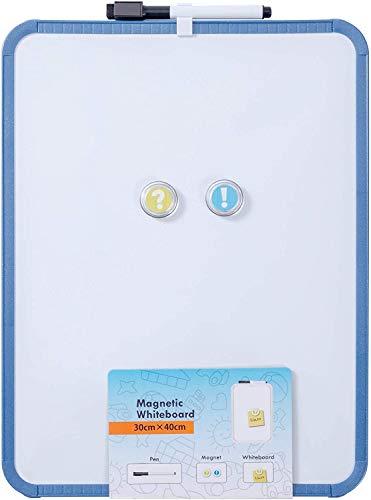 YUEMA Pizarra blanca magnética de 30 x 40 cm, con 2 imanes 1 rotulador, pizarra para oficina, escuela, hogar, aviso y aprendizaje remoto