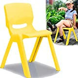 Kinderstuhl mit gummierten Füßen bis 100kg belastbar stapelbar und kippsicher Indoor und Outdoor geeignet (aus Kunststoff) (Gelb)
