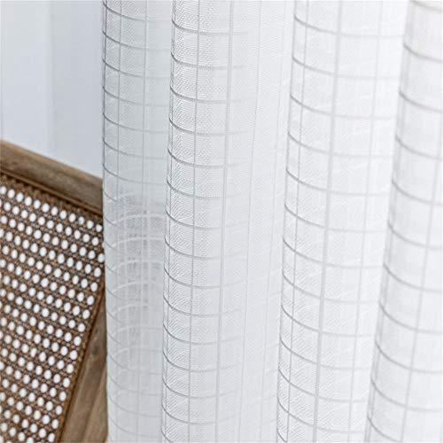 XFXDBT Nordisch Weiß Solide Schal Gardinen Zimmer Dekoschal Voile Vorhang Vorhänge Stangendurchzug,Netto Gardinen Einfach Zu Reinigen Schlafzimmer Fenster Balkon Wohnzimmer Ösen 100x200cm(39x78inch)
