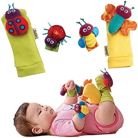 TINTAO Baby Socks Toys Wrist Rattles And Foot Finders Ankle Socks Lady Bugs Set 4 Pcs CS02 solid product image