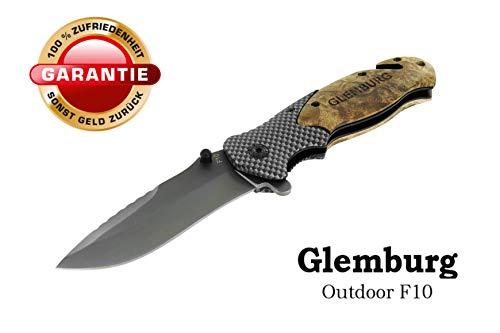 Glemburg Klappmesser   Outdoor F10 Messer   Jagdmesser   3-in-1 Taschenmesser   Einhandmesser   Überlebensmesser   Survival Camping Angeln   Extra Scharf - Carbon & NaturHolz