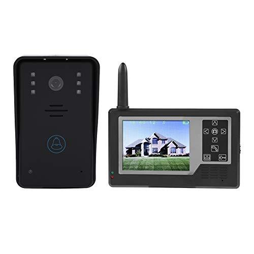 Sistema de intercomunicación con puerta de video,2.4G Sistema de intercomunicación con timbre de puerta Doorphone con monitor de 3.5 pulgadas,Cámara HD Videoportero inalámbrico con visión nocturna
