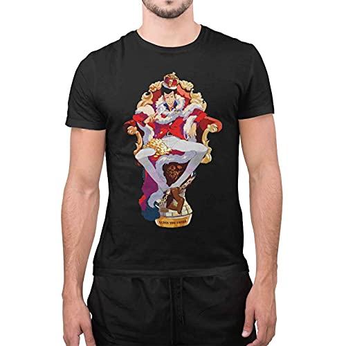 maglia lupin T-Shirt Divertente Uomo Maglietta con Stampa Simpatica Lupin King Nero