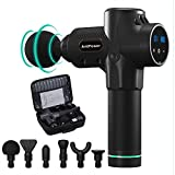 AntPower Massage Gun,Handheld Deep Muscle Massager,LCD Display,Cordless Vibration Massage Device Body Neck Massage with 6 Massage Heads Helps Relieve Muscle Soreness and Stiffness… (Black)