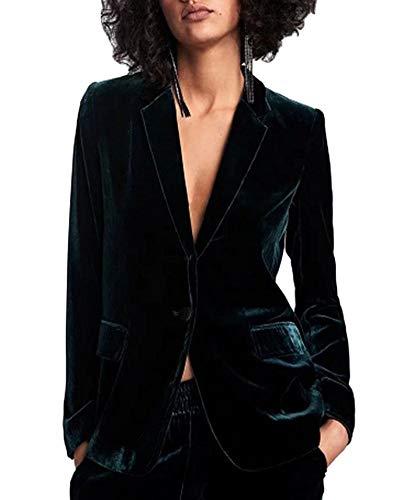 Yiqi Mujer Clásica Informal Blazer Ligero Frente Abierto Drapeado Un Botón Terciopelo Traje de Chaqueta Verdinegro M
