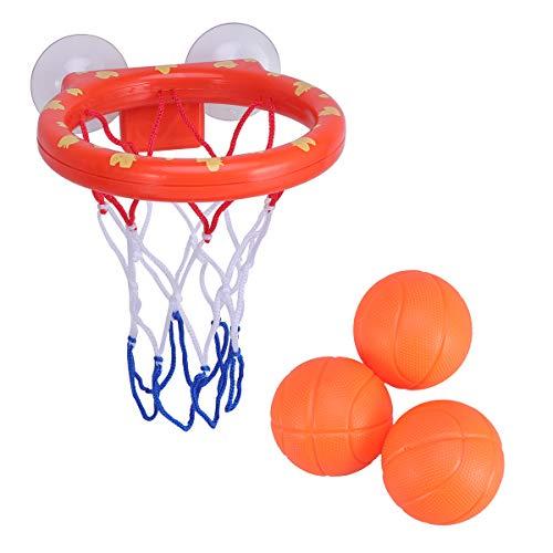 NUOBESTY Badespielzeug Basketball Hoop und 3-Bälle Spielset Badewanne Spiel für Kinder