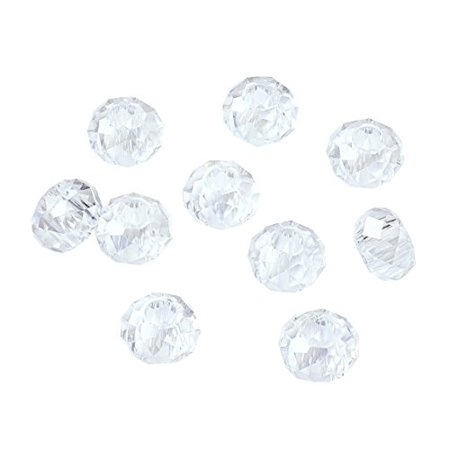 Pandahall 100pcs Glass European Beads Large Hole Beads Round Faceted Rondelle Slide Charms No Metal Core for Bracelet Jewelry Makings Crystal AB 14mm in Diameter