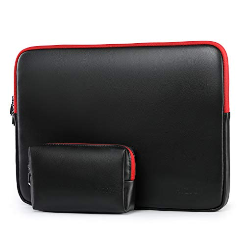 HYZUO 13-13.5 Inch Laptop Sleeve Lambskin Case Compatible with MacBook Air 13/MacBook Pro 13/iPad Pro 12.9/13.5 Inch Surface Laptop/Surface Book/Dell Inspiron 13/HP ENVY 13/Asus Zenbook 13, Black-Red