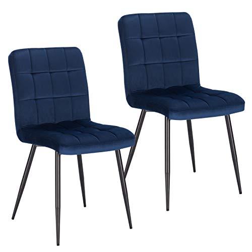 Lestarain 2X Sillas de Comedor Silla de Salón Dining Chairs Tapizadas Sillas de Cocina Nórdicas Asiento de Terciopelo Silla Bar Metal Silla de Oficina Azul