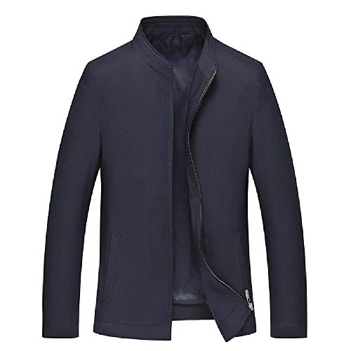U/A Jacke Mann Stehkragen Frühling Herbst Dünn Mittelalter Mantel Herren Casual Langarm Top Gr. Medium, blau