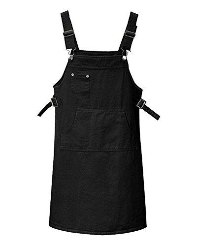 AnyuA Große Größen Latzrock Damen Gerades Denim-Latzhose Kleid Kurz Schwarz 5XL