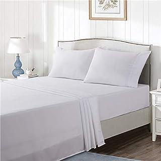 KFZ White Sheet Flat Set, Ultra Soft 1800 Brushed Full Size Sheet Set, 4 Pieces with 1 Deep Pocket Fitted Sheet, 1 Flat Sh...