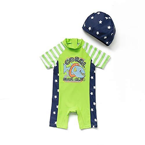 BONVERANO Baby Junge EIN stück Kurzärmel-Kleidung UV-Schutz 50+ Badeanzug MIT Einem Reißverschluss(Grüne-Der hai,3-6M)