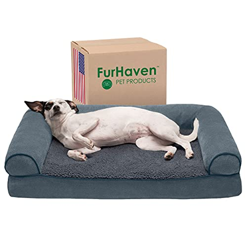Furhaven Orthopedic Pet Bed for Dogs and Cats – Sofa-Style Sherpa and Chenille Couch Dog Bed with Removable Washable…