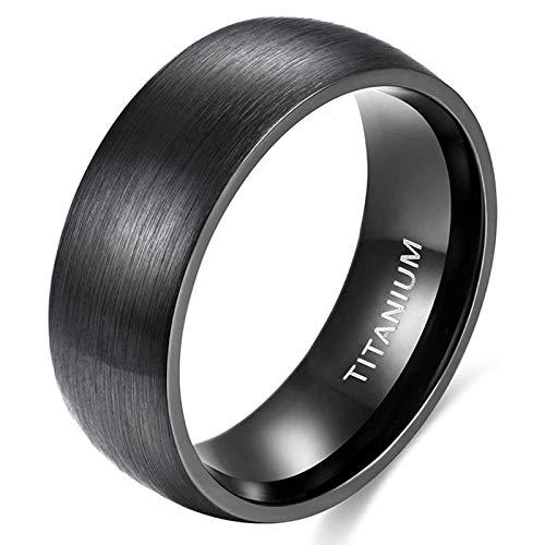 Zakk Anillo para mujer y hombre, color negro y plateado, titanio, alianzas, alianzas, anillos de compromiso, ajuste cómodo, 6 mm, 8 mm, Titanio.,