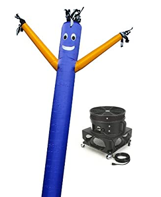 LookOurWay Air Dancers Inflatable Tube Man Complete Set with 1 HP Sky Dancer Blower, 20-Feet, Blue with Yellow Arms