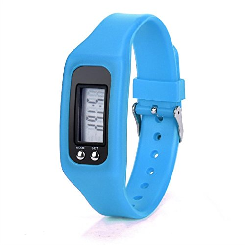 Perman Durable Digital LCD Pedometer Run Step Walking Distance Calorie Counter Watch Bracelet (HONHX Blue)