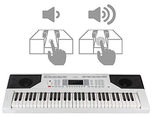 FunKey 61 Edition Touch Keyboard - 61 Tasten - Touch Response - 300 Sounds & 300 Rhythmen - Begleitautomatik und Lernfunktionen - USB-, Mikrofon- und Kopfhöreranschluss - Weiß