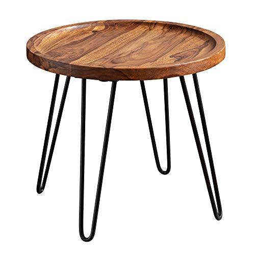 FineBuy Design Couchtisch Sheesham Massivholz 45x40x45 cm Wohnzimmertisch Rund | Sofatisch mit Haarnadelbeine | Kaffeetisch aus Holz und Metall