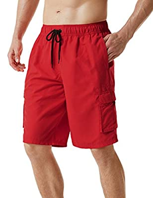TSLA Men's 11 Inches Swim Trunks, Quick Dry Beach Board Shorts, Bathing Suits with Inner Mesh Lining and Pockets, Solid(msb01) - Red, X-Large