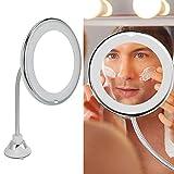 Xndz Espejo de Maquillaje, fácil de Instalar Espejo de Aumento Giratorio de 360 Grados Espejo de Maquillaje LED portátil para Mujeres para baño en casa