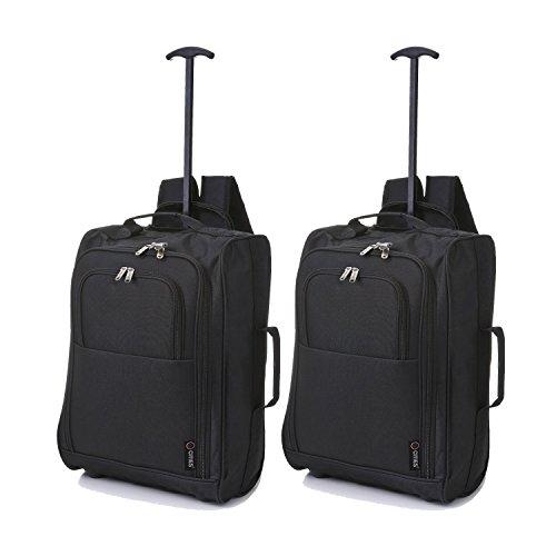 5 Cities Cabina Multi-uso a bordo come Borse di volo/Bagaglio Trolley Zaini. Accettato da low-cost (2 x Nero).