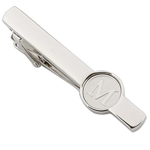 Dannyshi Men Tie Clip 2.1 Inch Silver Plated Stainless 26 Letters A-Z + Gift Box (Silver-M)