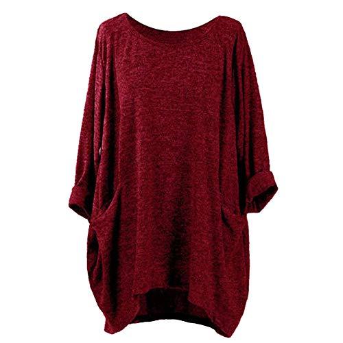 MRULIC Damen Tasche Lose Kleid Damen Rundhalsausschnitt Beiläufige Lange Tops Kleid Plus Größe Tunkia Bluse Crop Tops(X-Burgundy,EU-36/CN-S)