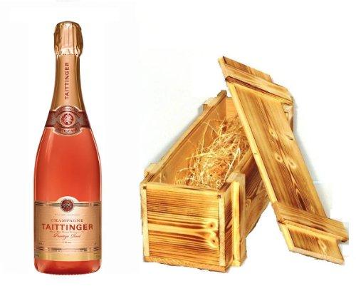 Taittinger Prestige Rosé Brut Champagner in Holzkiste geflammt 12% 0,75l Fl.