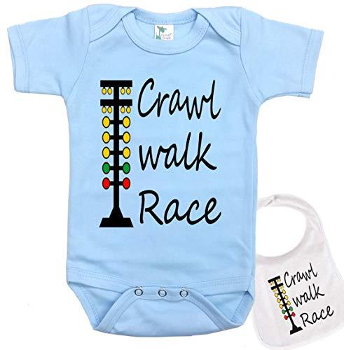 Crawl Walk Race -Cute Car Racing Outdoor Sports Baby Bodysuit Onesie & bib Blue