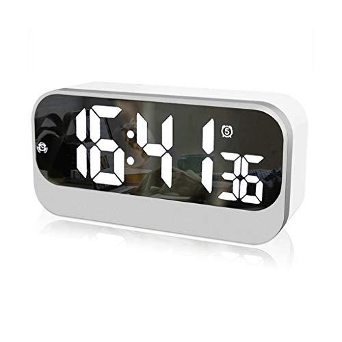 Digitale wekker Grote LED Spiegel nachtkastmodus instelbare helderheid met alarm en datum USB-oplader en geheugenfunctie (Color : White, Size : 6.9 * 1.97 * 3.35in)