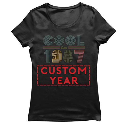 lepni.me Camiseta Mujer Genial Desde Cualquier año Personalizado de los 80 y 90 Fiesta Diseño Retro Clásico (Large Negro Multicolor)