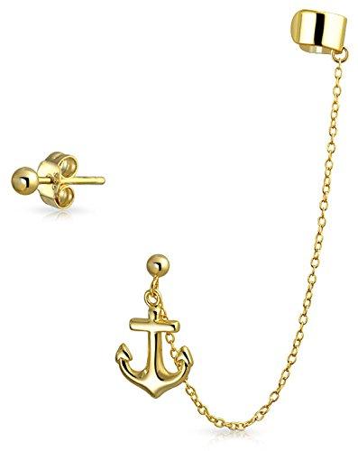 Boot Anker Tropischen Kette Knorpel Ohrstulpe Ohrringe Stud Ball Ohrring Set Nicht Durchbohrt 14K Vergoldet 925 Silber