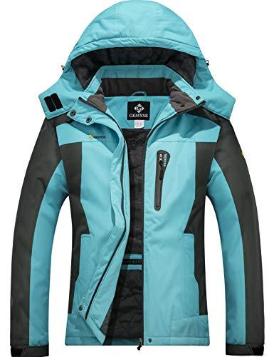 GEMYSE wasserdichte Berg-Skijacke für Frauen Winddichte Fleece Outdoor-Winterjacke mit Kapuze (Hellblau Grau,XL)