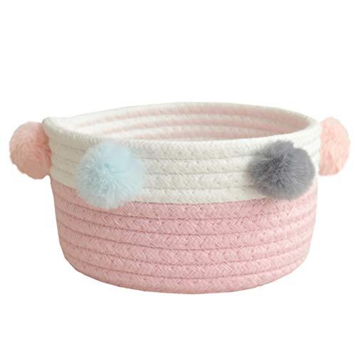 Fieans Faltbare Aufbewahrung Korb aus Baumwolle Seil Klein Baby Aufbewahrungsbox Zweifarbiger Schön Aufbewahrungskiste für Wohnzimmer Kinderzimmer Dekoration - Rosa