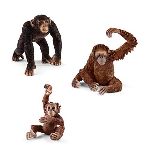 Wildlife Schleich 14817 Schimpanse Männchen + 14775 Orang-Utan Weibchen + 14776 Orang-Utan Junges