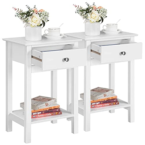Yaheetech Set of 2 Nightstand Modern End Tables With 1 Drawer, Bedside Table with Bottom Storage Shelf for Living Room Bedroom 40x30x61 cm, White