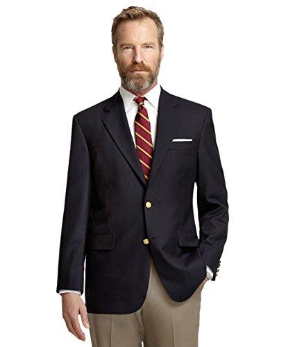 Brooks Brothers Mens 89271 Regent Fit Wool Cashmere Sports Coat Blazer Navy Blue Plaid (48L Long)