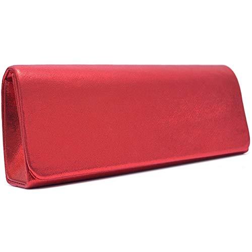 Vain Secrets Damen Umhängetasche Abendtaschen Clutch in Satin in vielen Farben (25 cm Lang - 10 cm Hoch - 6 cm Breit, Rot M1)